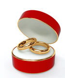 Red 3d casket with two wedding rings Stock Photo