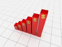 Red 3d chart. 3d render of a red 3d chart Stock Photography