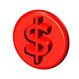 Red 3d dollar button Stock Photography