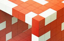 Red 3d futuristic cube Stock Image