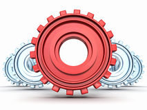 Red 3d gear in forward of blue group Royalty Free Stock Photos