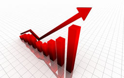 Red 3d graph Stock Images