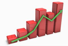 Red 3d graph with green arrow Royalty Free Stock Photos