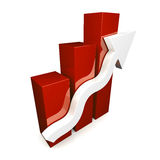 Red 3D graph with white arrow. On white background Stock Photos