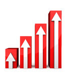 Red 3D graph with white arrows. On white background Royalty Free Stock Image