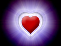 Red 3D heart in black with purple light Stock Photos