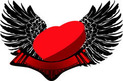 Red 3D Heart on Black Wings. Vector Illustration Royalty Free Stock Photo