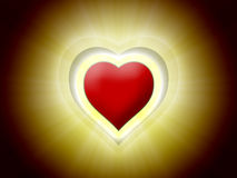 Red 3D heart in black with yellow light. Red heart with yellow light burst on black background stock illustration