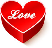 Red 3D heart with sign Love Stock Photography