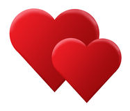 Red 3D hearts Royalty Free Stock Photography