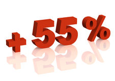 Red 3d inscription - plus of fifty five percent Royalty Free Stock Photo