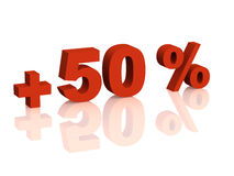 Red 3d inscription - plus of fifty percent. Objects over white Royalty Free Stock Photography