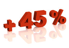Red 3d inscription - plus of forty five percent Stock Images