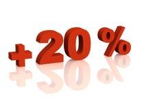 Red 3d inscription - plus of twenty percent Stock Photo