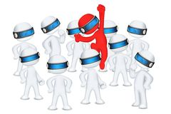 Red 3d Man jumping put of crowd stock illustration