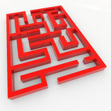 Red 3D maze. Royalty Free Stock Photo