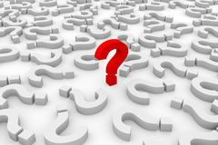 Red 3d question mark among white question marks. Royalty Free Stock Photography