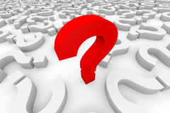 Red 3d question mark among white question marks. Royalty Free Stock Images