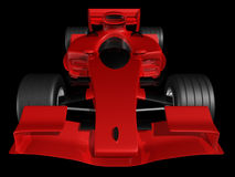 Red 3D race car front view on black background. Red 3D race car front view on a black background Royalty Free Stock Image