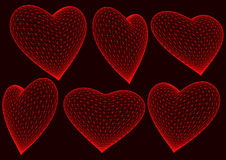 Red 3d rendered hearts Stock Photography