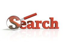 Red 3D search icon Stock Image