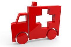 Red 3d sign of ambulance. Royalty Free Stock Image
