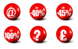 Red 3D spheres #3. Red 3D spheres printed with sale announcements Royalty Free Stock Photos