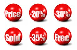 Red 3D spheres Stock Photos