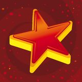 Red 3d star (vector). Red 3d star (vector in CMYK mode). Metallic star Royalty Free Stock Photography