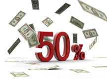 Red 50 percentage with money. A red percentage isolated on white with money falling Stock Images