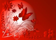 Red abstract. With butterflys and flowers royalty free illustration