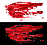Red abstract acrylic color brush strokes blots. Isolated. Royalty Free Stock Photos