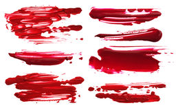 Red abstract acrylic color brush strokes blots. Isolated. Red abstract acrylic color brush strokes blots. Collection. Isolated on black and white Stock Image