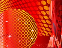 Red abstract background. With disco ball Stock Images