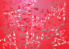 Red abstract background with branches and leaves Royalty Free Stock Photography
