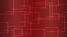 Red abstract background of circles, squares and rectangles. Vector. Aspect ratio 16:9 Royalty Free Stock Images
