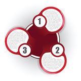 Red abstract background diagram with three places. For text Stock Photo