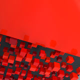Red abstract background. Abstract digital background with large group of red glossy boxes and place for text Stock Photography