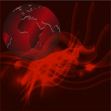 Red abstract background with globe Stock Photos