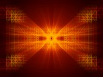 Red abstract background and gold line. Fractal stock photo