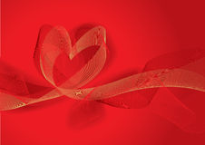 Red abstract background with heart (vector) Royalty Free Stock Photos