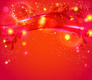 Red abstract background with leafs, glitter, waves. Vector image Stock Photo