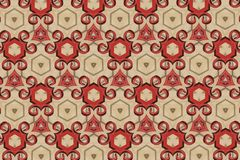 Red abstract background pattern textured. Lines and symmetrical shapes stock images
