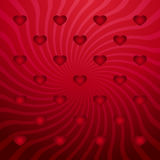 Red abstract background with red hearts. And twirls vector illustration