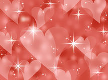 Red abstract bokeh heart valentines day card background illustration with twinkling stars and sparkles Stock Photos