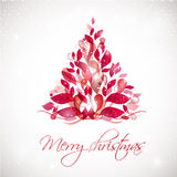 Red abstract Christmas tree on white background with lights and snowflakes. Stock Images