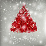 Red abstract Christmas tree on white background with lights and snowflakes. Stock Photo