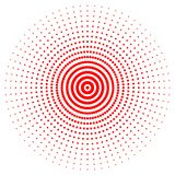 Red abstract circle with halftone dots effect. Vector illustration. Round icon with the use halftone dots texture stock illustration