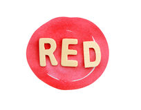 Red Abstract Circle Stroke on white with text (clipping path). royalty free stock photo