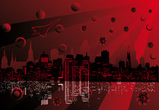 Red abstract city landscape illustration Royalty Free Stock Image